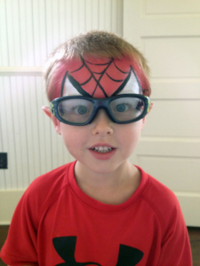 Boy with Spiderman facepaint