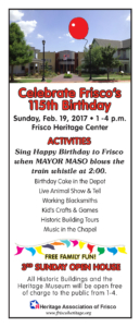 Frisco's 115th Birthday Celebration