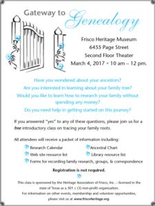 Genealogy Class Flyer
