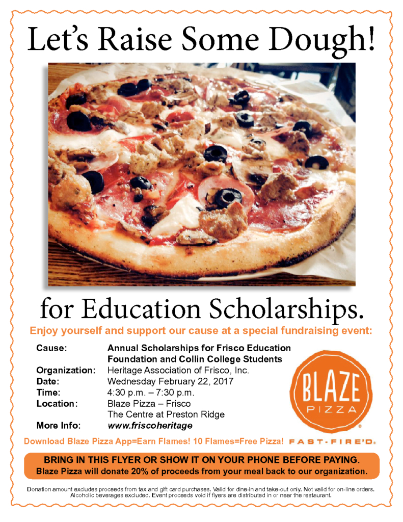Blaze Pizza Fundraiser February 2017