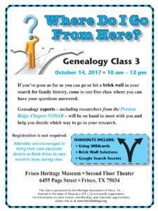 October 2017 Genealogy Class Flyer