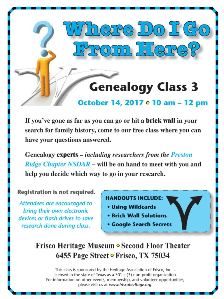 October 2017 Genealogy Class Flyer