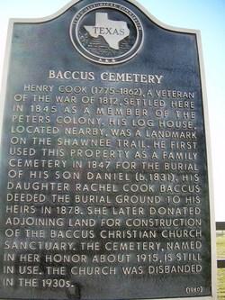 Baccus Cemetery Plaque