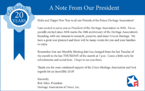 Note From Our President