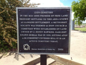 Zion Cemetery Marker